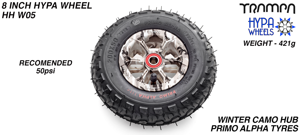 8 Inch Wheel - Winter Cammo Hypa Hub with Black Alpha 8 Inch Tyre