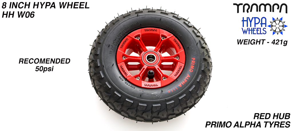 8 Inch Wheel - Red & Black logo Hypa Hub with Black Alpha 8 Inch Tyre
