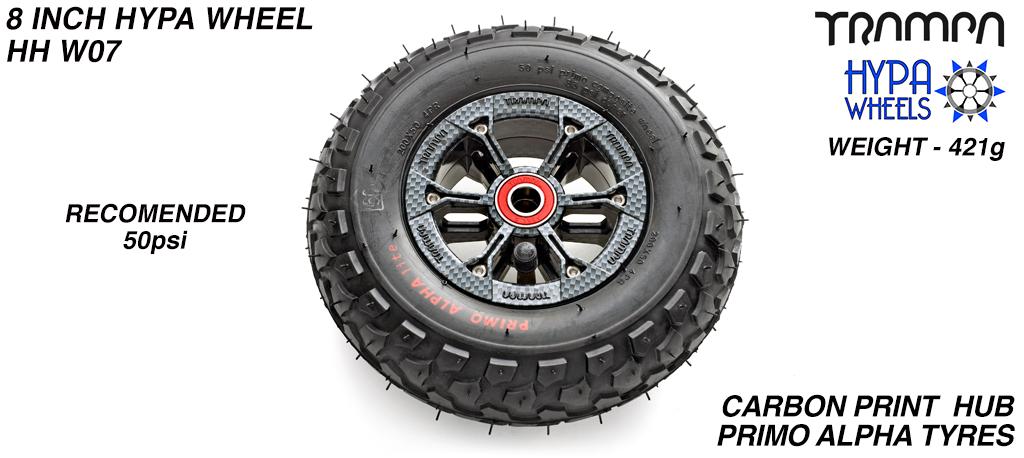 8 Inch Wheel - Carbon Fiber Print Hypa Hub with Black Alpha 8 Inch Tyre