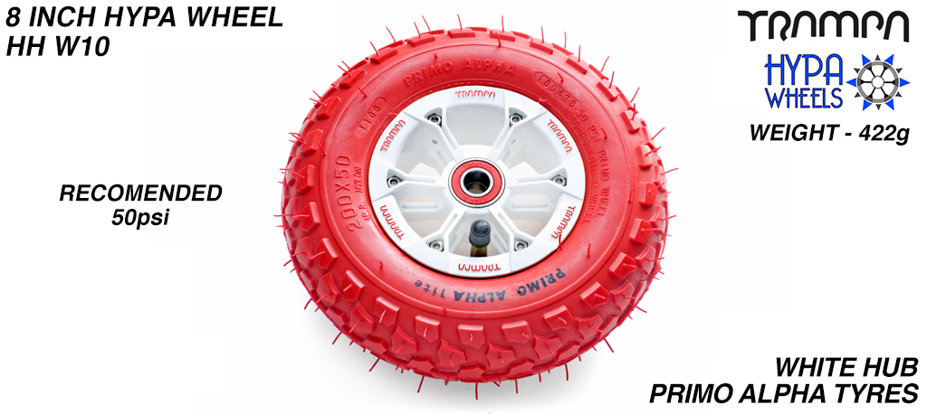 8 Inch Wheel - White & Red logo Hypa Hub with Red Alpha 8 Inch Tyre