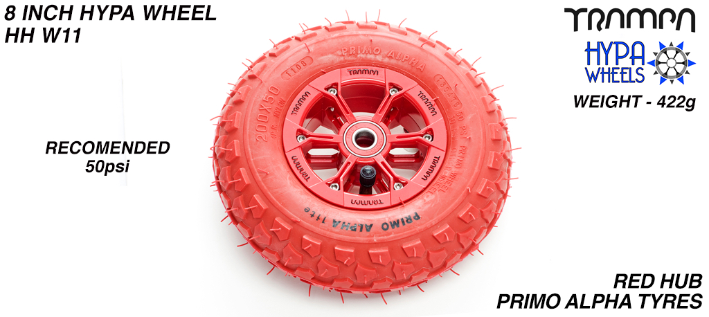 8 Inch Wheel - Red & Black logo Hypa Hub with Red Alpha 8 Inch Tyre