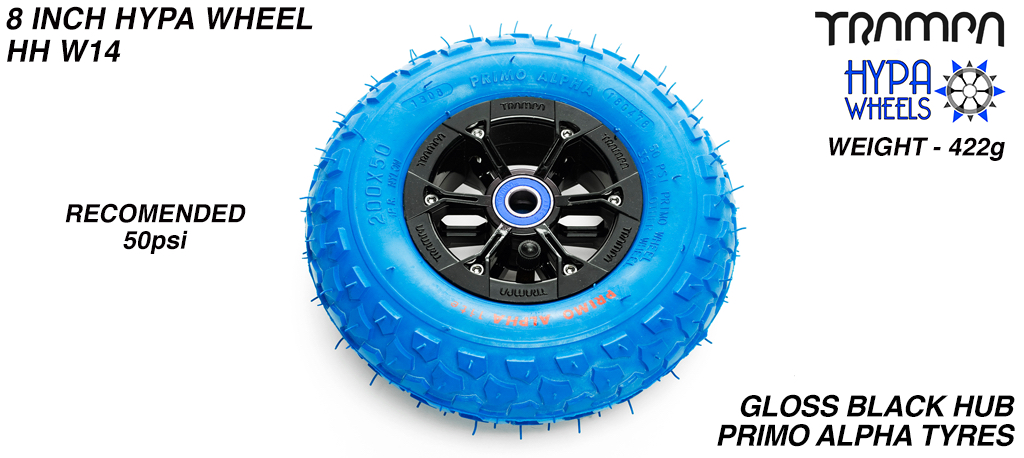 8 Inch Wheel - Black Gloss Hypa Hub with Blue Alpha 8 Inch Tyre