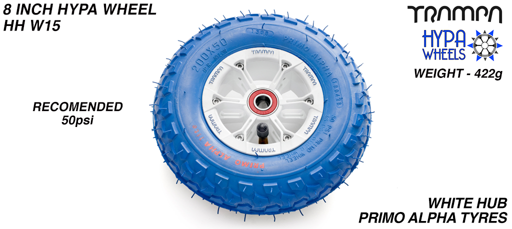 8 Inch Wheel - White & Blue logo Hypa Hub with Blue Alpha 8 Inch Tyre