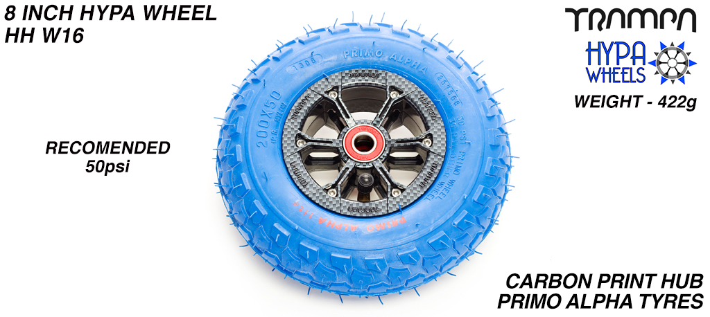 8 Inch Wheel - Carbon Fibre Hypa Hub with Blue Alpha 8 Inch Tyre