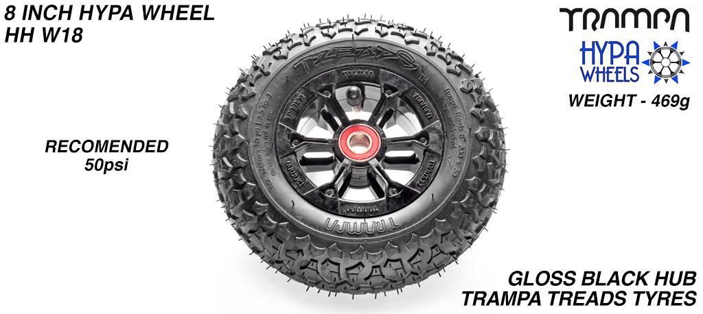 8 Inch Wheel - Black Gloss Hypa Hub with Trampa Treads 8 Inch Tyre