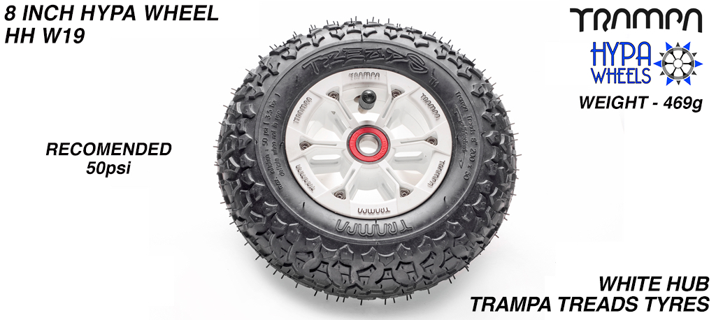 8 Inch Wheel - White & Black logo Hub with Trampa Treads 8 Inch Tyre