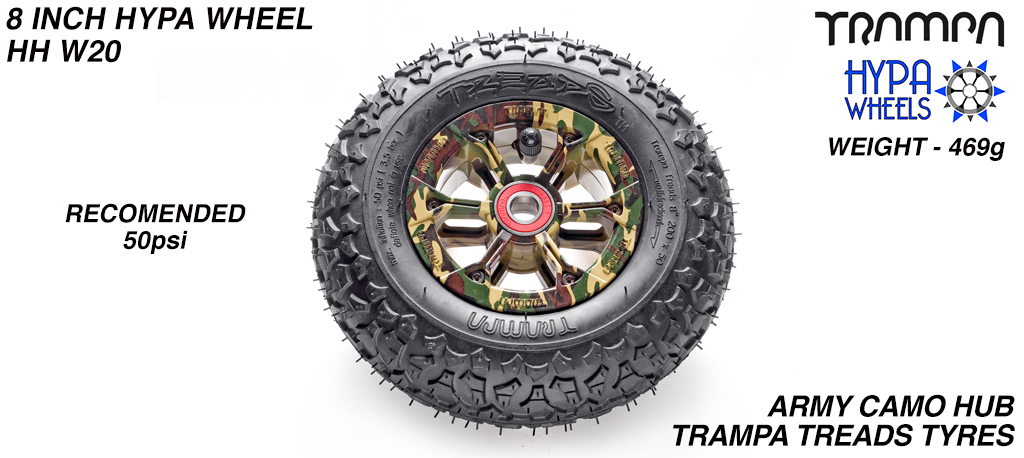 8 Inch Wheel - Army Camo Hypa Hub with Trampa Treads 8 Inch Tyre