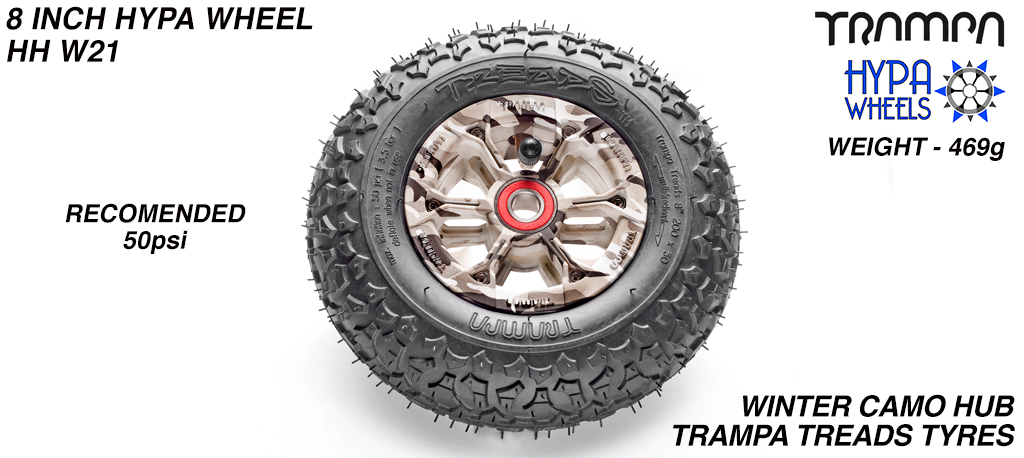 8 Inch Wheel - Winter Camo Hypa Hub with Trampa Treads 8 Inch Tyre