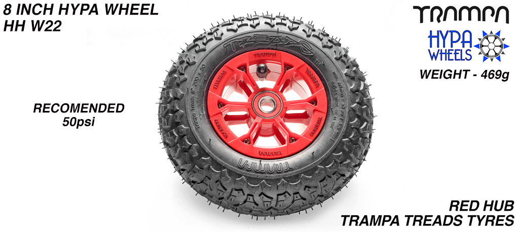 8 Inch Wheel - Red & Black logo Hypa Hub with Trampa Treads 8 Inch Tyre