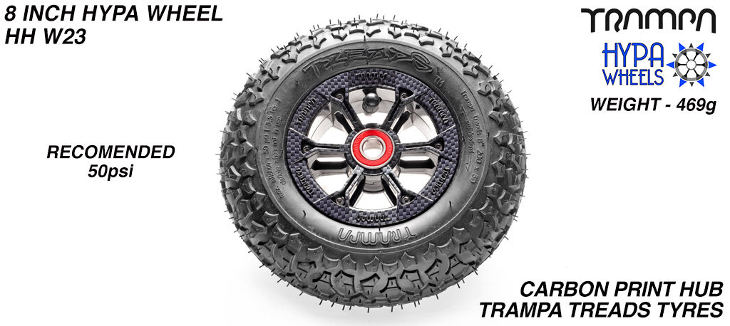 8 Inch Wheel - Carbon Fibre Hypa Hub with Trampa Treads 8 Inch Tyre