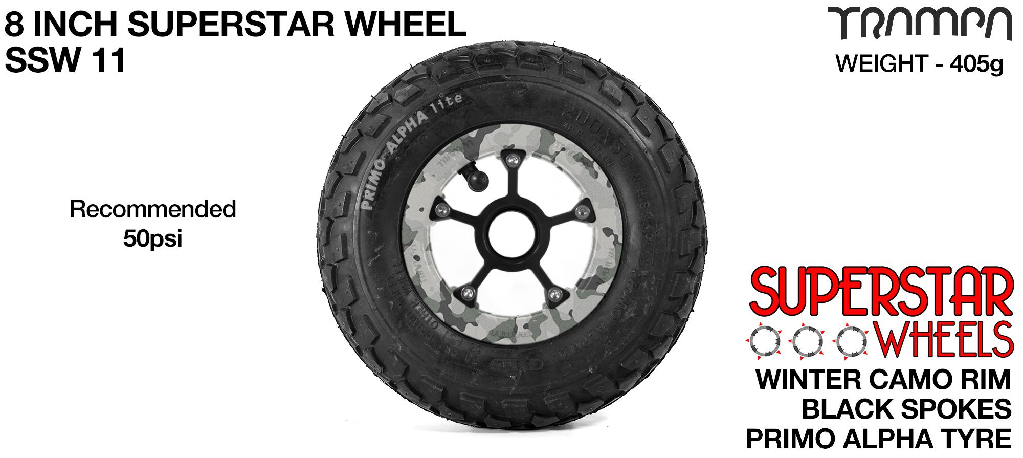 Superstar 8 inch wheel - Winter Camo Rim Black Anodised spokes & Black Alpha 8 Inch Tyres