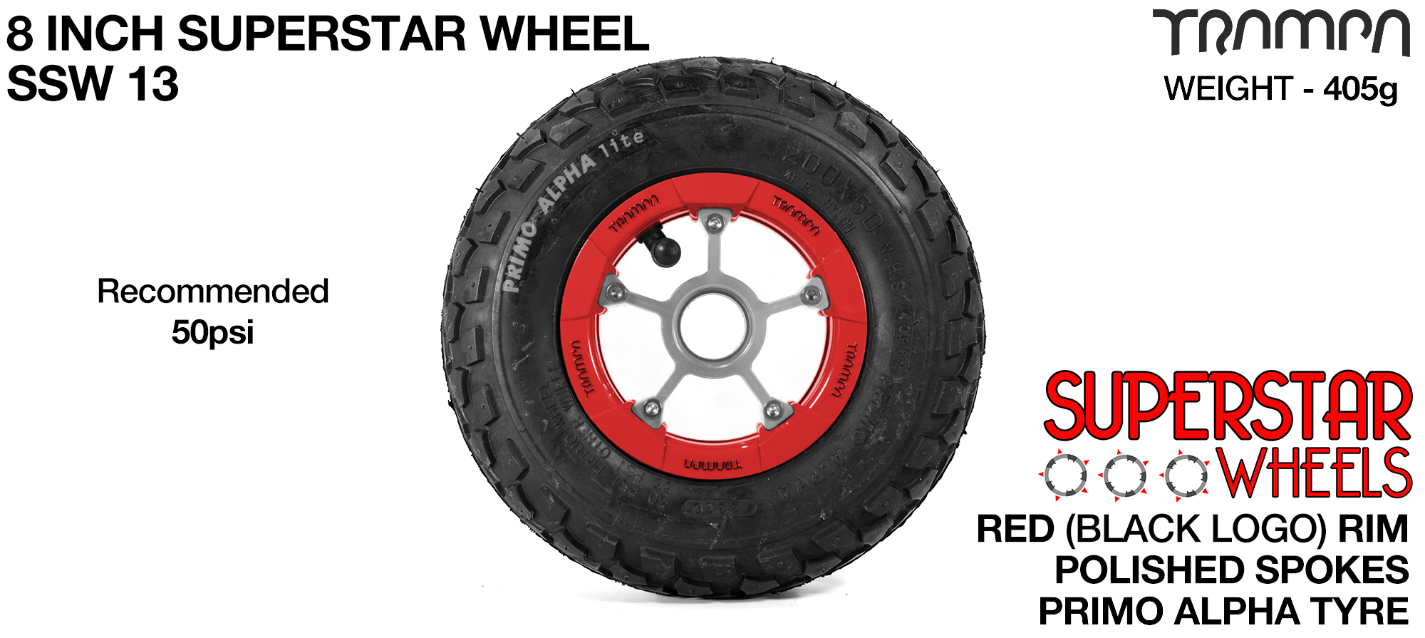 Superstar 8 inch wheel - Red Gloss Rim with Silver Anodised spokes & Black Alpha 8 Inch Tyres