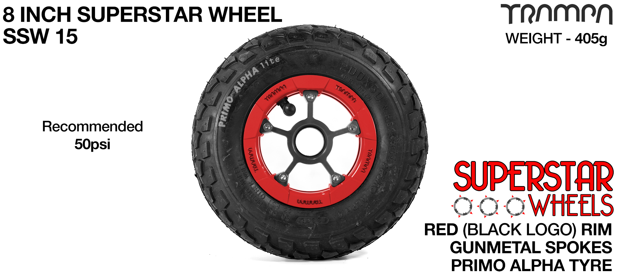Superstar 8 inch wheel - Red Gloss Rim Gunmetal Anodised spokes & Black Alpha 8 Inch Tyres