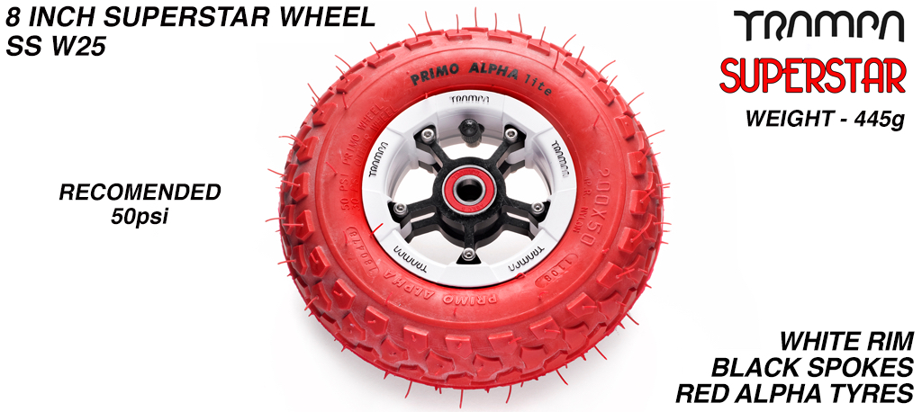 Superstar 8 inch wheel - White Gloss Rim with Silver Anodised spokes & Red Alpha 8 Inch Tyres
