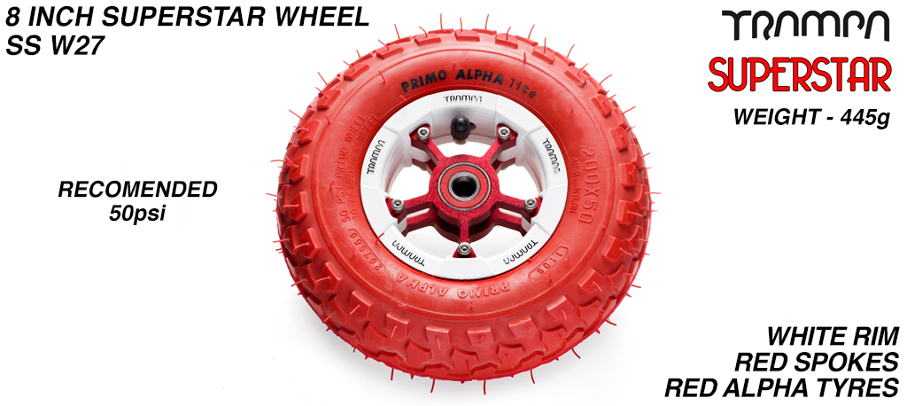 Superstar 8 inch wheel - White Gloss Rim with Red Anodised spokes & Red Alpha tyre - 8 inch wheel