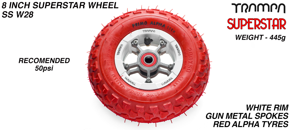 Superstar 8 inch wheel - White Gloss Rim with Gunmetal Anodised spokes & Red Alpha 8 Inch Tyres