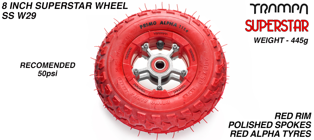 Superstar 8 inch wheel - Red Gloss Rim with Silver Anodised spokes & Red Alpha 8 Inch Tyres