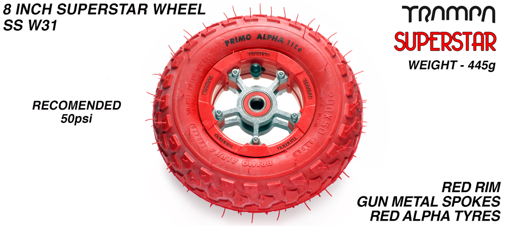 Superstar 8 inch wheel - Red Gloss Rim with Gunmetal Anodised spokes & Red Alpha 8 Inch Tyres