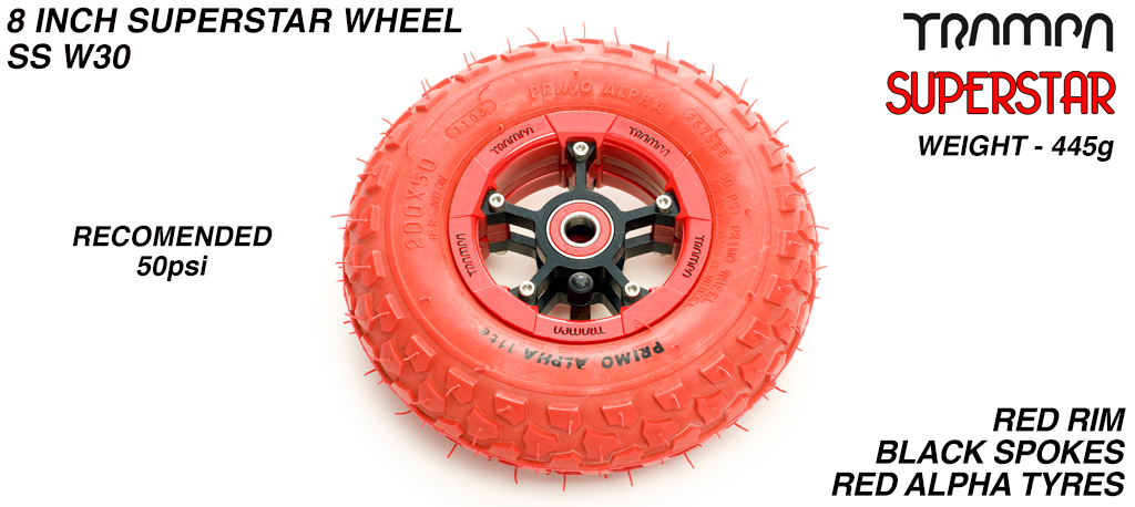 Superstar 8 inch wheel - Red Gloss Rim with Black Anodised spokes & Red Alpha 8 Inch Tyres