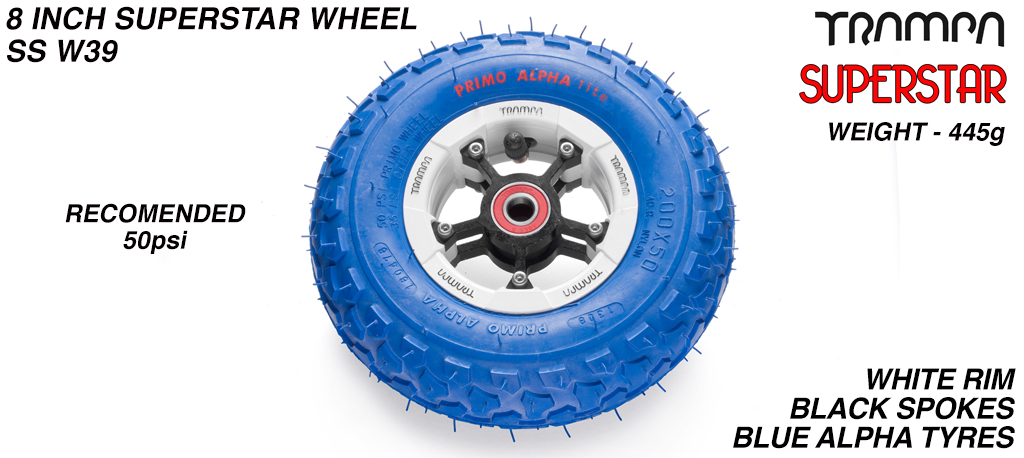 Superstar 8 inch wheel - White gloss Rim with Black Anodised Spokes & Blue Alpha 8 Inch Tyres