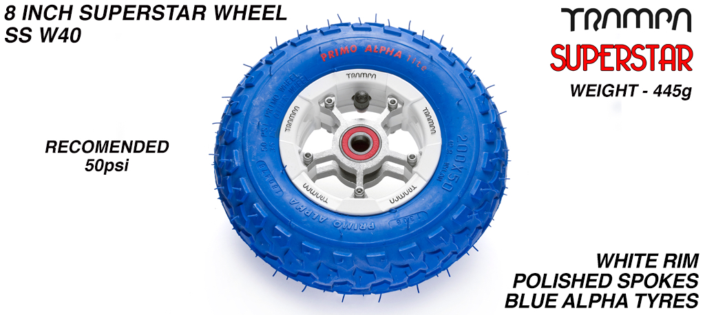 Superstar 8 inch wheel - White Gloss Rim with Silver Anodised spokes & Blue Alpha 8 Inch Tyres