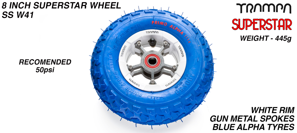 Superstar 8 inch wheel - White Gloss Rim Gunmetal Anodised spokes & Blue Alpha 8 Inch Tyres