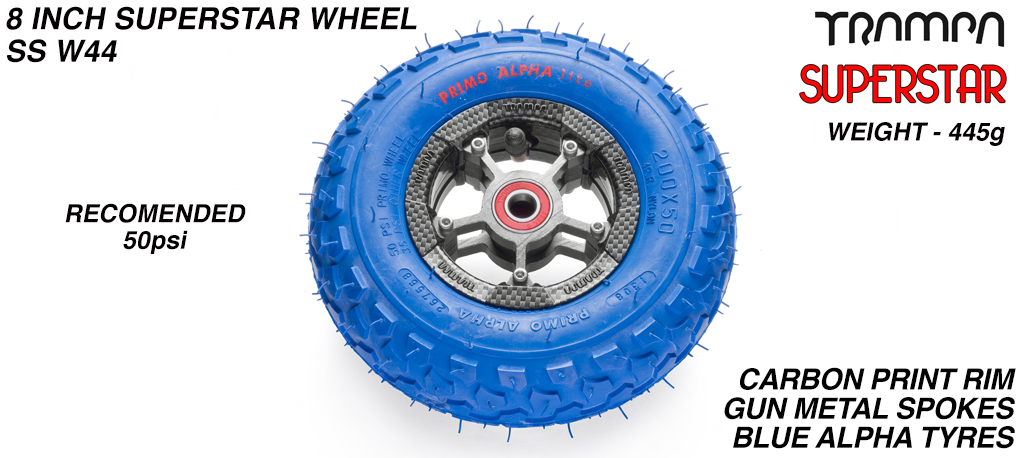Superstar 8 inch wheel - Carbon Rim with Gunmetal Anodised spokes & Blue Alpha 8 Inch Tyres