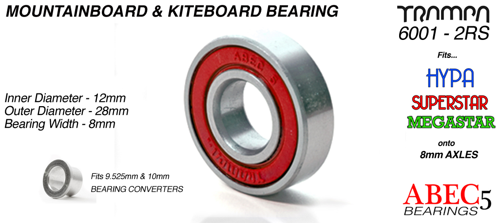 All Terrain Board Bearings (12 x 28 x 8mm) RED sidewalls with Embossed Logo ABEC 5 6001 2RS