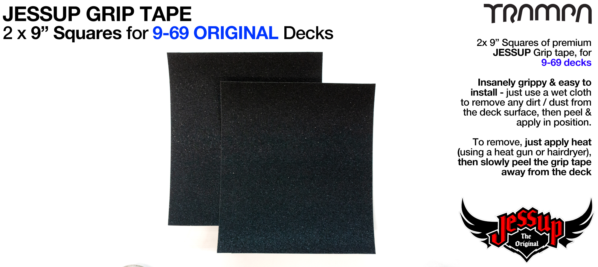Grip tape - 2 x 9 inch squares for 9-69 Decks - Jessup