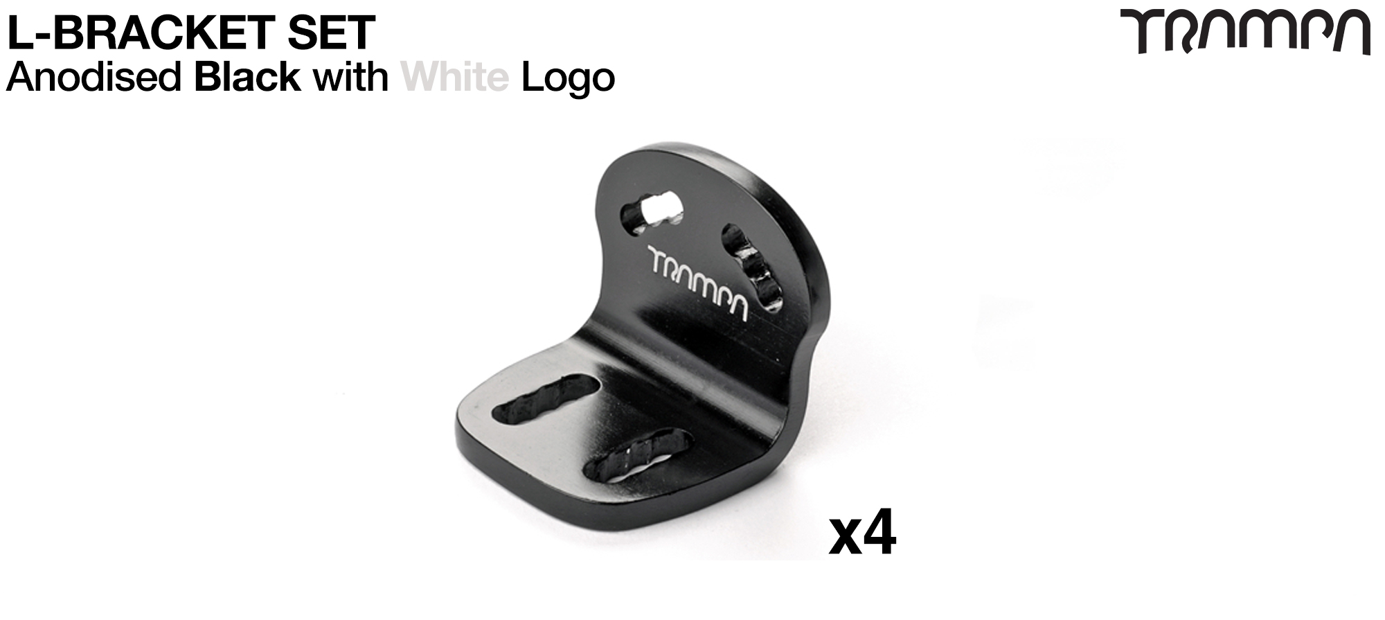 BLACK with SILVER logo L-Brackets