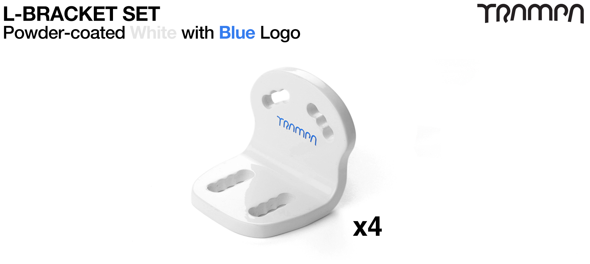 WHITE with BLUE logo L-Brackets