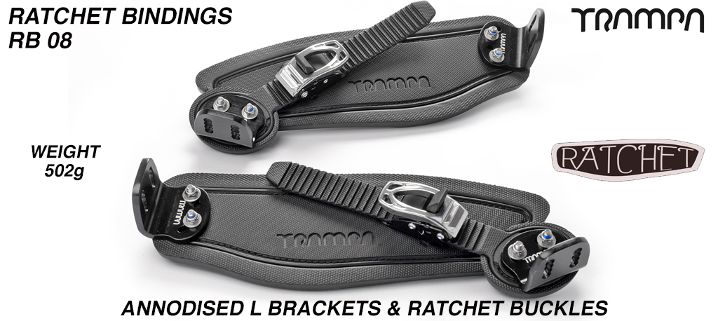 Ratchet Bindings - Black Straps on Black foam with Black L Brackets & Silver Ratchet