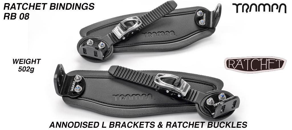 Ratchet Bindings - Black Straps on Black foam with Black L Brackets & Silver Ratchet