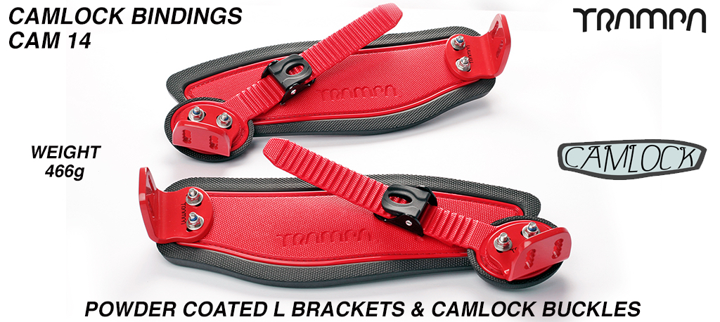 Camlock Bindings - Red straps on Black Foam with Red L Brackets & Black Camlocks