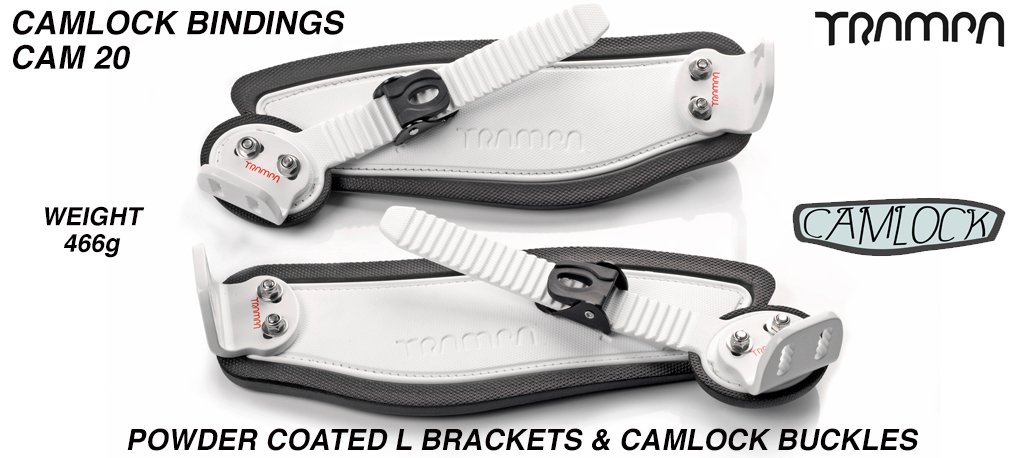 Camlock Bindings - White straps on Black Foam White L Brackets & Black Camlocks
