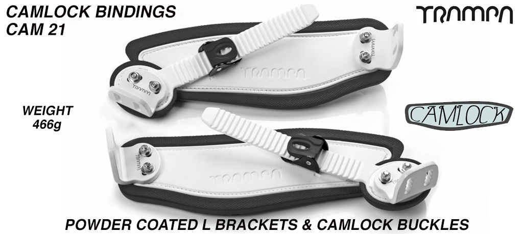 Camlock Bindings - White straps Black Foam White L Brackets & Black Camlocks