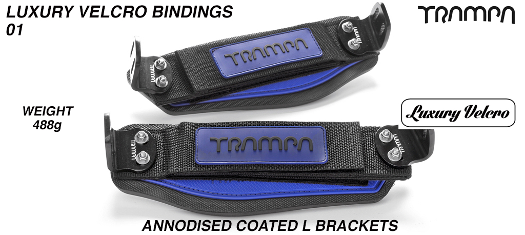 Luxury Velcro Bindings - Blue patch with Black logo velcro straps and Black L Brackets