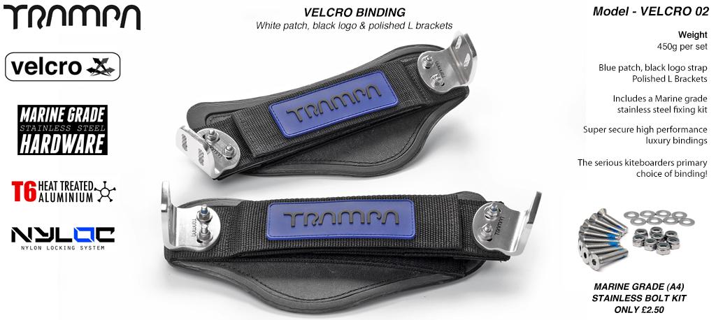 Nylon Hook Bindings - Blue patch with Black logo Nylon Hook straps & Polished L Brackets