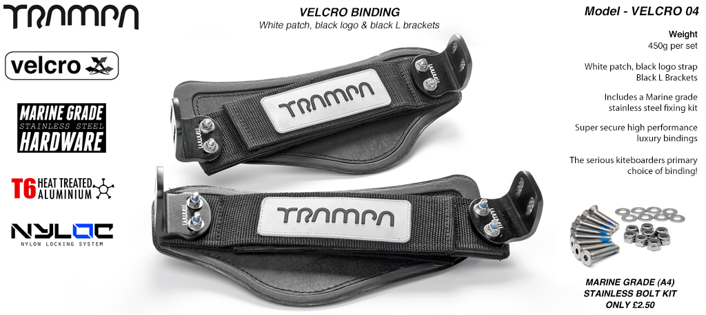 Nylon Hook Bindings - White patch with Black logo Nylon Hook straps with Black L Brackets