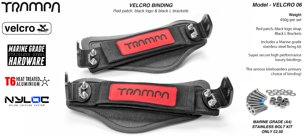 Nylon Hook Bindings - Red patch with Black logo Nylon Hook straps with Black L Brackets