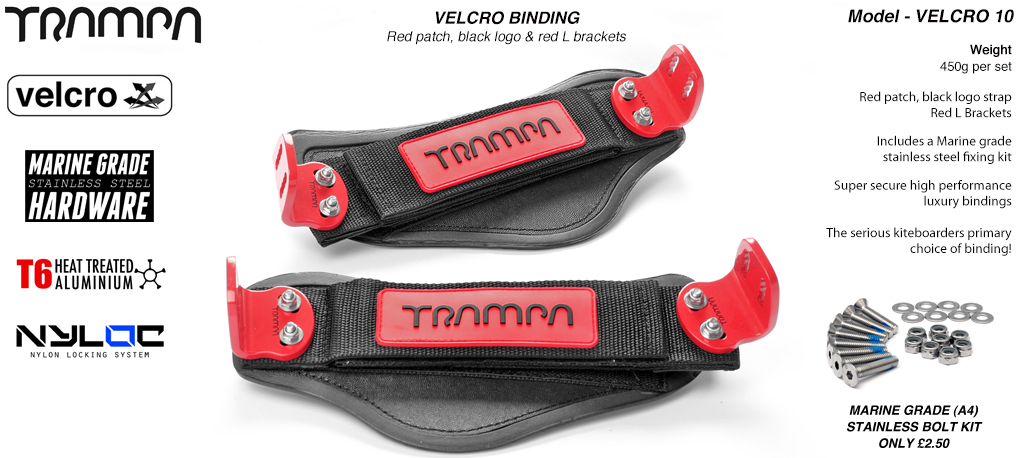 Nylon Hook Bindings - Red patch with Black logo Nylon Hook straps with Red L Brackets