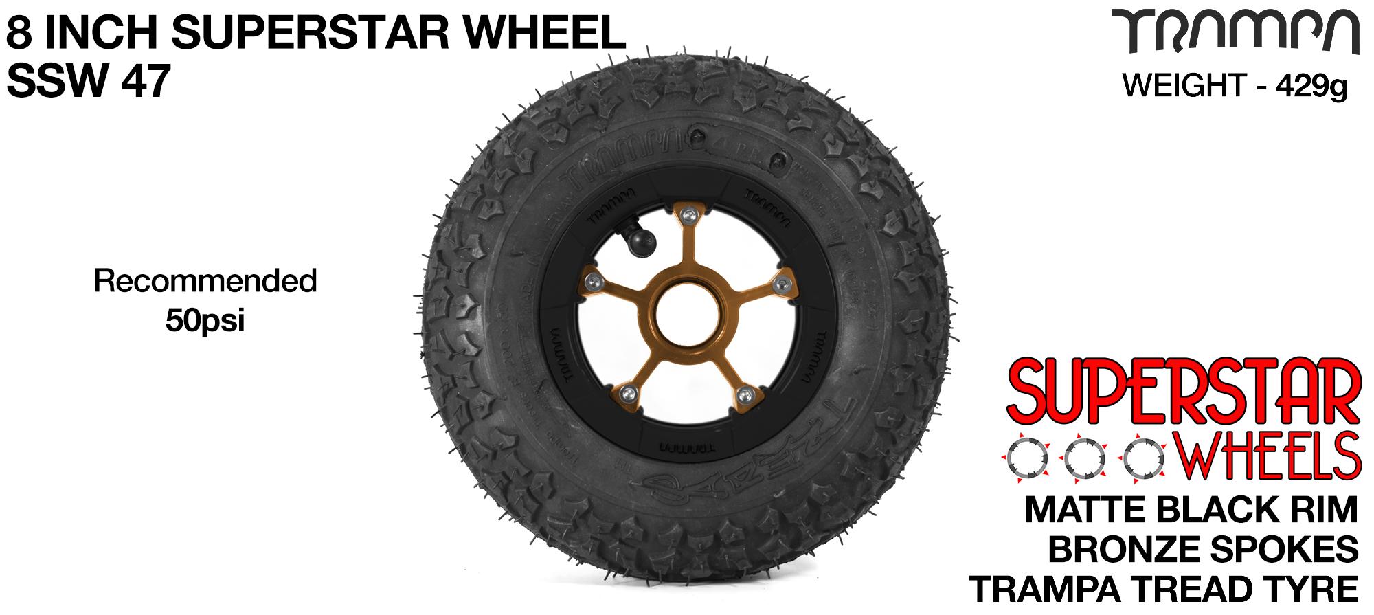 Superstar 8 inch wheel - Matt Black Rim with Bronze Anodised spokes & TRAMPA TREAD 8 Inch Tyres