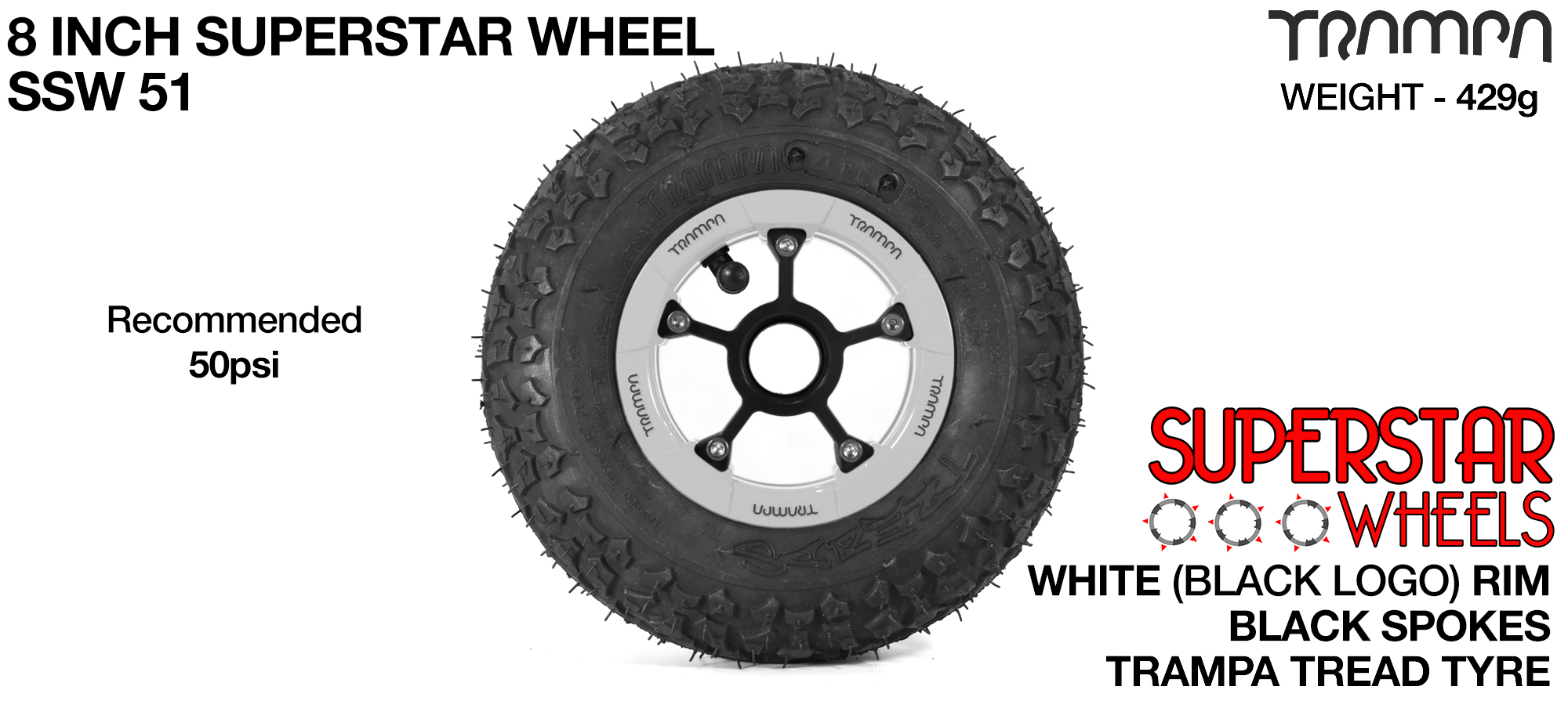 Superstar 8 inch wheel - White Gloss Rim with Black Anodised spokes & TRAMPA TREAD 8 Inch Tyres