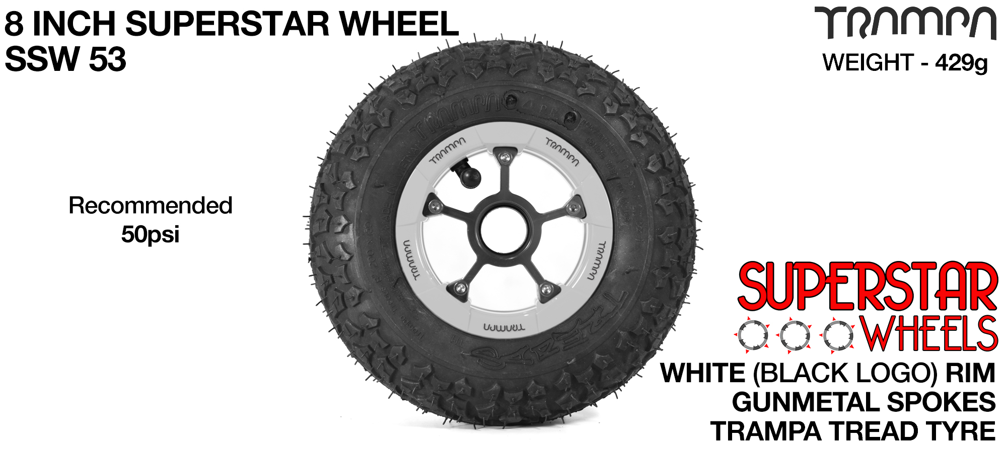 Superstar 8 inch wheel - White Gloss Rim Gunmetal Anodised spokes & TRAMPA TREAD 8 Inch Tyres
