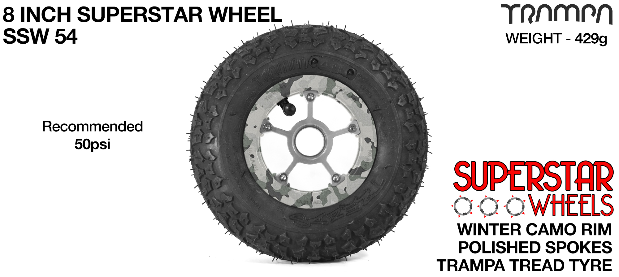 Superstar 8 inch wheel - Winter Camo Rim with Silver Anodised spokes & TRAMPA TREAD 8 Inch Tyres