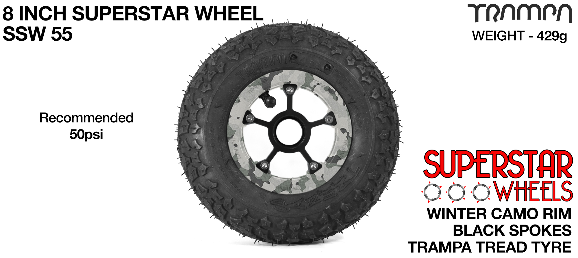 Superstar 8 inch wheel - Winter Camo Rim with Black Anodised spokes & TRAMPA TREAD 8 Inch Tyres