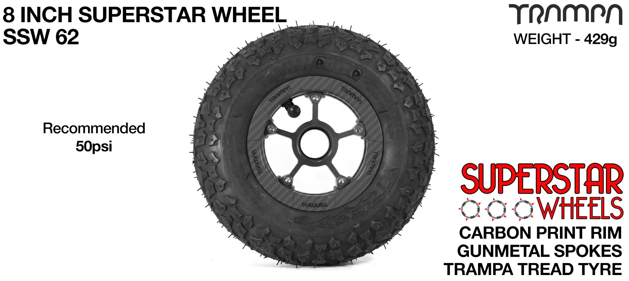 Superstar 8 inch wheel - Carbon Print Rim with Gunmetal Anodised spokes & TRAMPA TREAD 8 Inch Tyres