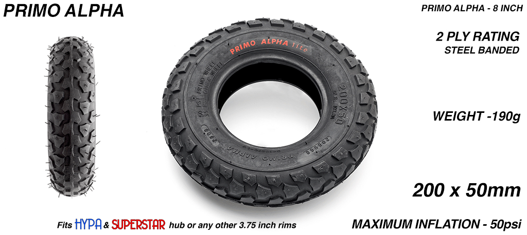 8 Inch BLACK Primo ALPHA Tyres - All Round