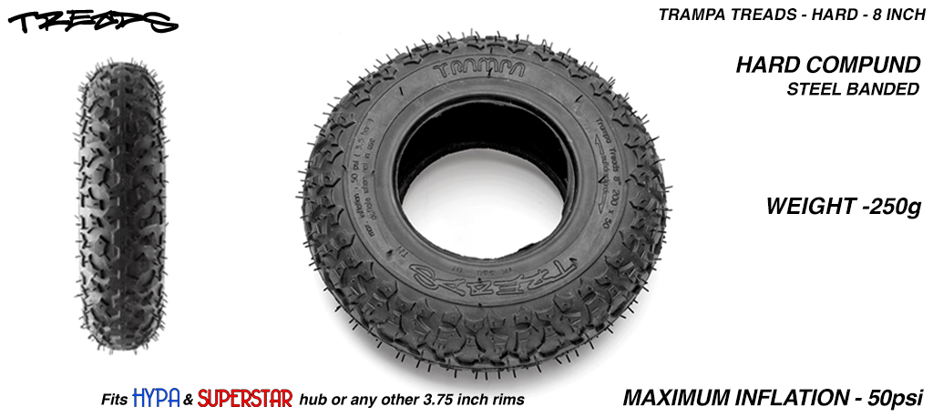 8 Inch HARD TRAMPA Treads Tyres - All Round