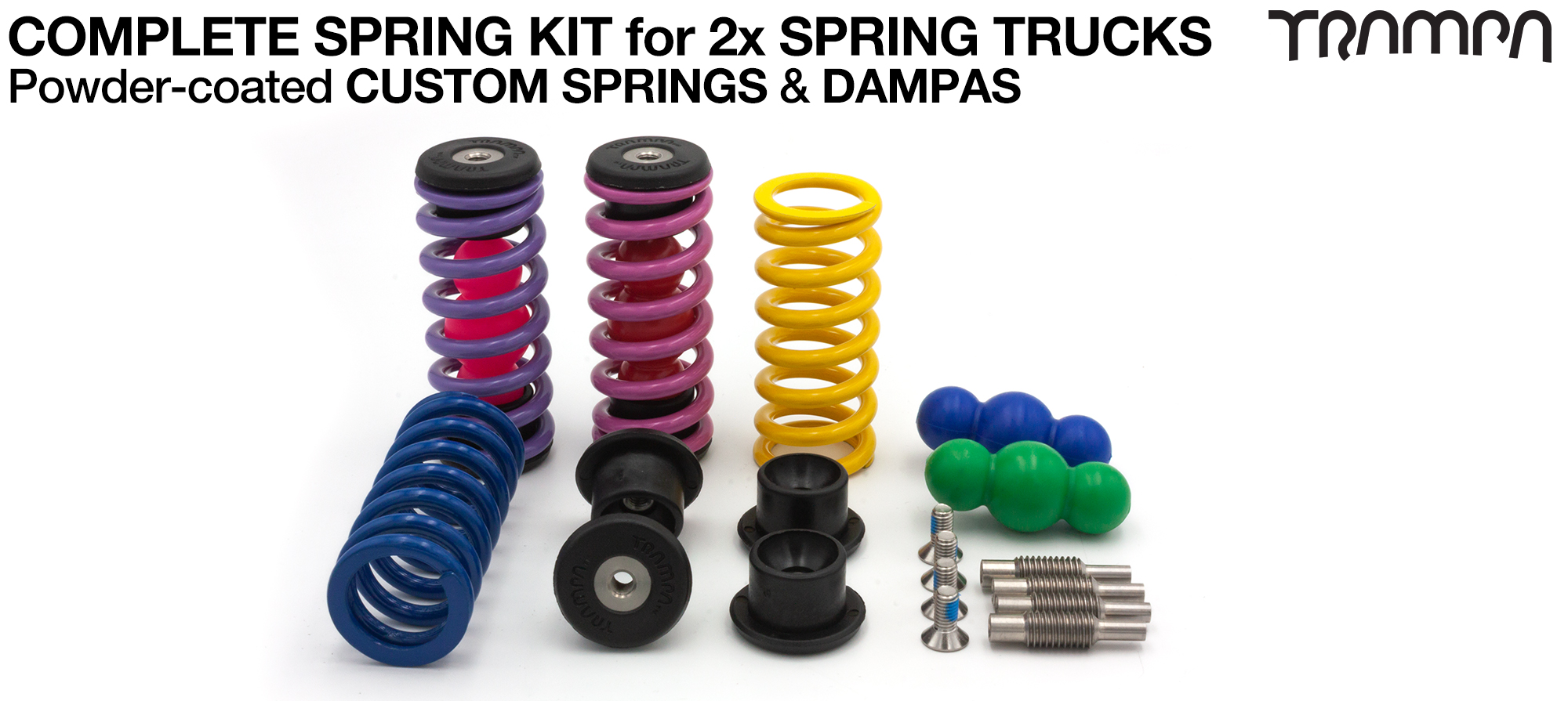 Complete Spring kit for 1x Board = 4x Spring 4x Dampa 8x Spring Retainers 4x Spring Adjuster & 4 M5x12mm Countersunk Bolt